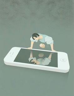 Social Media Narcissism Social, media, new, narcissism, Michelangelo, Merisi, Caravaggio, narciso, legend, canvas, mirror, iphone, danger, illustration, graphic, conceptual, ironic