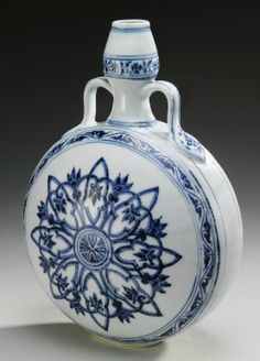 A RARE BLUE AND WHITE MOONFLASK  MING DYNASTY, YONGLE PERIOD