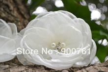 20pcs/lot, 3.75-4'' , brooch flower , fabric flower ,wedding bridal hair accessory , Ivory organza flower(China (Mainland))
