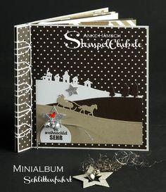 Minialbum mit Stabbindung, schlittenfahrt, Stampin' UP!