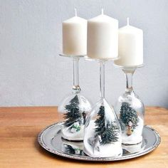 Snow Themed Inverted Wine Glass Candle Stands