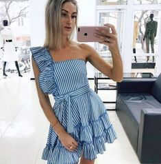 Material: Polyester Gender: Women Item Type:Dress Sleeve Length: Sleeveless Color: light blue Size: S, M, L, XL Stylish Dresses, Casual Dresses, Short Dresses, Tall Girl Fashion, Sweaters And Jeans, Ruffle Dress, Lace Maxi, Cute Summer Outfits, Pretty Dresses