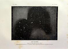 1877 Antique stars astronomy print Pleiades or Seven Sisters