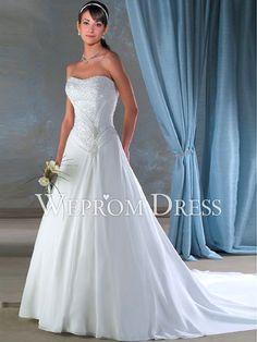Amazing Lace-up Apple|Inverted Triangle|Pear-Shaped White Chiffon Dropped Waistline Strapless Princess Wedding Dresses -wepromdresses.com