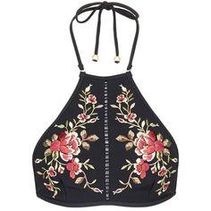 Zimmermann 'Sakura' floral embroidery halterneck bikini top found on Polyvore featuring swimwear, bikinis, bikini tops, tops, bikini, shirts, swim, tankini swim tops, bikini swimwear and halter neck bikini top