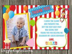 Circus Thank You Card 2 - Printable - Birthday