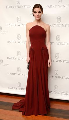 Hilary Rhoda wore a Zac Posen gown at the Harry Winston dinner for Jessica Chastain in New York.