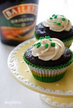 Chocolate Stout Cupcakes with Baileys Irish Cream Cheese Frosting St. Patty's day!