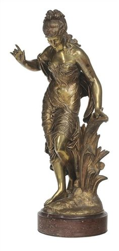 Artwork by Louis Auguste Moreau, Young Beauty Stepping into Water, Made of Gilt bronze on red marble base