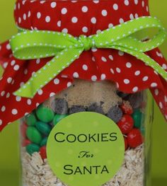 Christmas Gifts in a Jar - Cookies for Santa - Click pic for 25 DIY Christmas Gifts