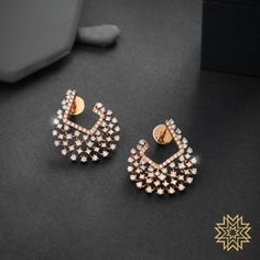 Check out these pretty Indian diamond earrings designs online by the brand Manubhai Jewellers. Jewelry Design Earrings, Gold Earrings Designs, Ear Jewelry, Necklace Designs, Pink Jewelry, Jewellery Box, Handmade Jewellery, Jewellery Making, Fashion Earrings