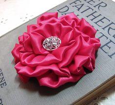 Cabaret Pink Flower Hair Clip. Hot Pink Satin Rosette Brooch and Hair Clip