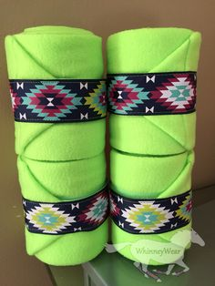 Neon lime polo wraps with Aztec trim  Www.Whinneywear.Com