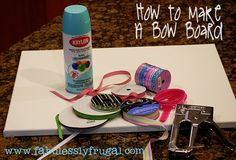 DIY Bow board - to store all of your girls pretty bows!  Fun and easy craft!