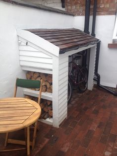 Compact bike shed small garden/yard. The front opens up to a drinks cabinet! Compact bike shed small garden/yard. The front opens up to a drinks cabinet! Garden Bike Storage, Bike Storage Home, Outdoor Bike Storage, Bicycle Storage, Shed Storage, Patio Storage, Firewood Storage, Storage Bins, Garage Storage