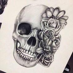 Floral skull tattoo