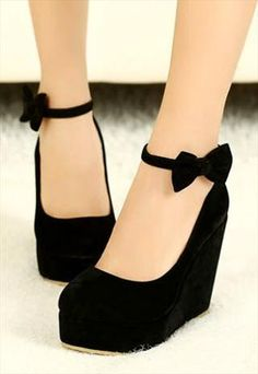 Black Bow  cute cute cute black wedges! Super baby doll esque. The velvety look to them are perfect for winter as well as summer! These shoes are like accessories of their own! Please follow me if you haven't all ready :) .  -ҡ a ɪ ʟ ɪ ɳ a  L E W I S