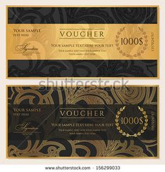 Voucher, Gift certificate, Coupon template. Floral, scroll pattern (bow, frame). Background design for invitation, ticket, banknote, money design, currency, check (cheque). Black, gold vector - stock vector