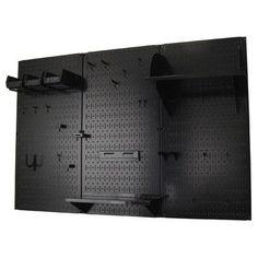 Metal Pegboard Standard Tool Storage Kit – Black Toolboard with Hooks – Garage Organization DIY Black Pegboard, Metal Pegboard, Pegboard Organization, Computer Desk Organization, Organization Ideas, Tool Storage, Garage Storage, Storage Spaces, Locker Storage