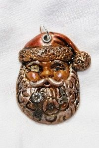 steampunk ornaments | Polymer Clay Steampunk Santa Pendant Ornament review | buy, shop with ...
