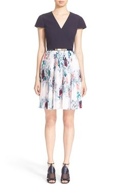 Ted Baker London 'Dessy' Acanthus Scroll Cap Sleeve Dress available at #Nordstrom