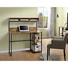 Features:  -2 Fixed side shelves for additional storage.  -Durable metal steel frame.  -Great for use in small spaces.  -Large worksurface with 3 compartment hutch above.  -Natural reclaimed finish wi