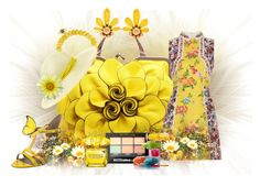 """Yellow Spring"" by rainheartcreations ❤ liked on Polyvore featuring Sydney Evan, VANELi, Mary Katrantzou, Benoît Missolin, Maybelline and Versace"