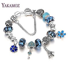 YAKAMOZ 2017 Fashion European Beads Charms Bracelet  DIY Key Crystal Chain Bracelets for Women Girls Gift Silver Color Jewelry
