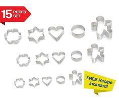 Cookie Cutters 15 PIECE SET by Immys - HIGH QUALITY Biscuit Cutter Set With FREE RECIPE - Create Perfect Shaped Cookies - Star Round Heart Gingerbread Man Flower - Mini Cookie Cutters For Kids * Find out more details by clicking the image : Baking Tools and Accessories