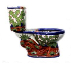 Mexican Talavera Toilet..can you imagine decorating a bathroom around this?  A…