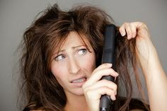 woman straightening her hair and having a bad hair day Beauty Tips For Skin, Beauty Hacks, Health And Beauty, Hair Beauty, Bad Hair, Hair Day, Lemon Water Weight Loss, Burnt Hair, Coconut Oil Uses