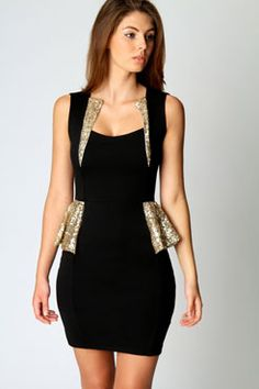 Hayley Sequin Trim Detail Peplum Dress -- kk, this one's for stage -- but in white!
