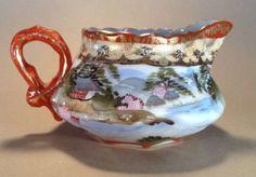 Nippon-Kutani-Cream-Pitcher-Very-Ornate-Hand-Painted-River-Scene-With-Gilding