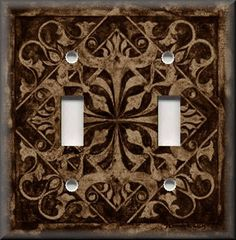 Light Switch Plate Cover - Home Decor - Tuscan Tile Pattern - Dark Brown