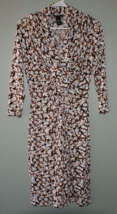 New York & Company dress 3/4 sleeves ruffled chest womens size S #NewYorkCompany #Shift #WeartoWork