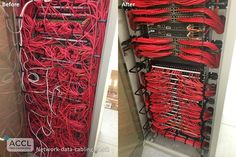 Cleaning up a network rack. The company ACCL did a good job with this one. Network Cabinet, Network Rack, Data Center Rack, Data Center Design, Network Organization, Structured Cabling, Organizing Wires, Server Rack, Modem Router
