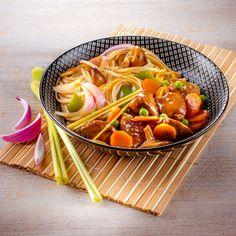 Süss-salziges Schweinefleisch mit Asia-Nudeln - Ein Rezept für Prep&Cook von KRUPS