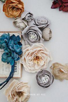 Navy Blue Fabric Flower Brooch by handmadebyrui on Etsy