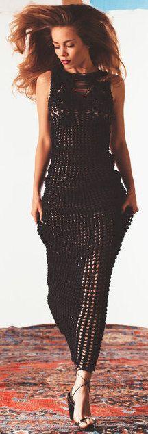 Helen Rödel long black crochet dress