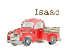 Personalized Old Pickup Truck for Boy's Room Decor  by PhyllisHarrisDesigns, $20.00