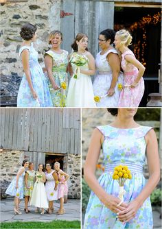 Love the floral bridesmaid dresses!