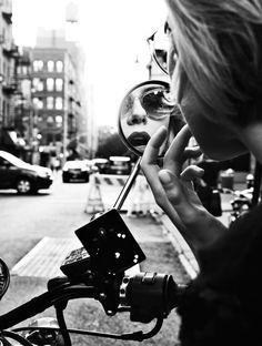 Environmental portraits - motorbike mirror