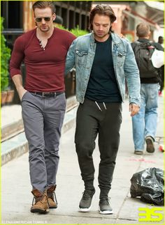 #chrisevans and #sebastianstan strolling around. Handsome men!
