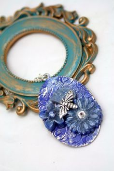 Blue Skies Summer Time Fun Collage Pendant Necklace Denim Lapis Sky    shadesongs - Jewelry on ArtFire