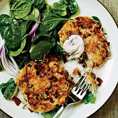 Smoky potatoe pancakes.  These are messy, but I LOVE them!  Make sure to put foil on your cookie sheet or else you'll have a disaster.  :)