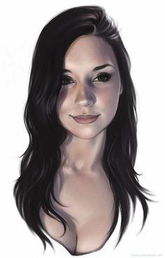 """Portrait"" - Jessamy {beautiful female head #decollétage woman face digital painting} liljessy.deviantart.com"