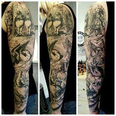 Alice in wonderland tattoo sleeve