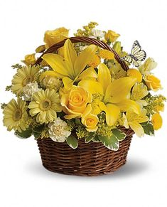 Basket Full of Wishes - yellow flowers in a basket - roses, carnations, lilies, alstromeria, solidaster and butterflies ;)