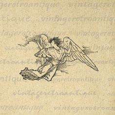Printable Digital Angel Image Graphic by VintageRetroAntique
