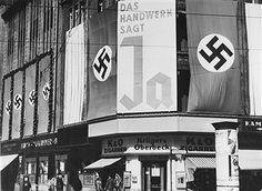 Plebiszit Anschluss Österreich - Wahlpropaganda in Berlin: 'Das Handwerk sagt Ja' (Handelskammer in der Belle-Alliance-Strasse Berlin 1938)